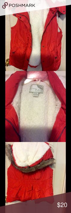 Red vest This I also got from another posher I really like it it's super soft she said she only wore it once I think she does horseback riding anyway I haven't worn it it's a little big on me white lined the hood has brown faux fur also. Sweet tea Jackets & Coats Vests