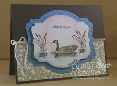 Thinking of You Greeting Card. Loon Image, Sponged. by DebbiesDesigns09 on Etsy