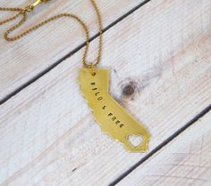 Brass California State Necklace, California Love Necklace, Custom Stamped Necklace, Wild & Free, California Charm, SO CAL, CA Love Necklace by BeYOUtiflyCreations on Etsy