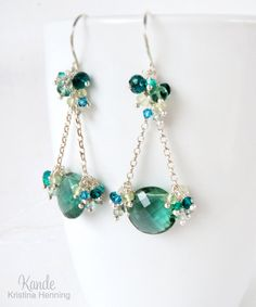 Teal Gemstone Chandelier Earrings