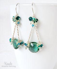 Teal Gemstone Chandelier Earrings