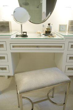 Zoe Feldman Design -- Waterworks Easton Metal / Vinyl Rectangular Stool, custom vanity, make up vanity, make up vanity table,