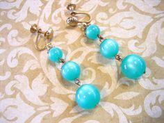 Vintage Retro Aqua Moonglow Bead Earrings by charmingellie on Etsy, $7.00