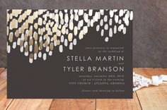 Gorgeous gold foil pressed wedding invite from minted.com. Perfect for a high class black tie wedding.
