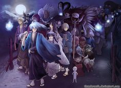 Nurarihyon no mago by ThunderSeth on DeviantArt Digital Art Anime, Dark Art Drawings, Supernatural Beings, Natsume Yuujinchou, Anime Scenery, Photoshop Cs5, Movie Costumes, Creatures, Fan Art