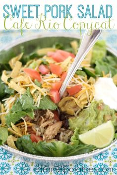 I know there are a lot of Cafe Rio Copycat recipes out there for this Sweet Pork Salad – I've tried many of them, and finally came up with the version I love the best! Copycat Recipes, Crockpot Recipes, Soup Recipes, Salad Recipes, Cooking Recipes, Sweet Pork Recipe, Cafe Rio, Pork Salad, Mexican Food Recipes
