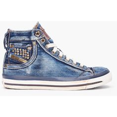 DIESEL Denim Mid Exposure Sneakers ❤ liked on Polyvore
