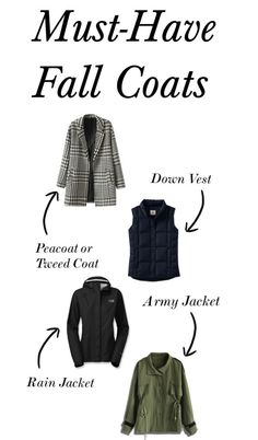 Must-Have Fall Coats - Four different kinds of coats to keep you warm and dry in the autumn months! Click through to read why you need each type for your fall wardrobe!