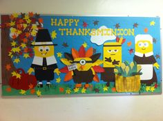 I have a minion things to be thankful for! Minion Bulletin Board, Minion Classroom, December Bulletin Boards, Thanksgiving Bulletin Boards, Interactive Bulletin Boards, Preschool Bulletin Boards, Classroom Bulletin Boards, Classroom Ideas, Bullentin Boards