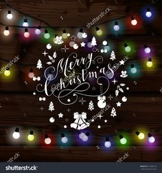 Christmas lights poster with shining and glowing garlands on wooden background. Lettering Merry Christmas and a Happy New Year. Web banner vector illustration