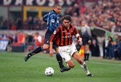Paolo Maldini & Ronaldo during the  Milan Derby 1990's