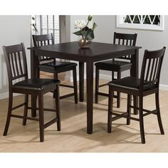 Marin County 5PC Counter Height Merlot Table Set | Dining Sets | Discount  Direct Furniture And