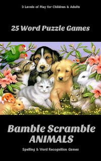 Bamble Scramble Word Game Puzzles.  Great for children and adults.  Spelling and word recognitions game.  Kindle only right now.  $2.95