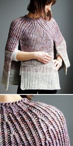 Knitting Pattern for Twisted Rib Poncho Knitting Pattern for Over and Out Poncho - Pullover poncho with front openings knit with a 2 row repeat Twisted Rib stit. Poncho Knitting Patterns, Knitting Stitches, Knitting Yarn, Knit Patterns, Free Knitting, Circular Knitting Patterns, Poncho Pullover, Poncho Sweater, Knitted Poncho