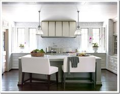 Kitchen, no upper cabinets, eat-at island with sink. Like the extra storage, but don't necessarily want a built-in hutch.