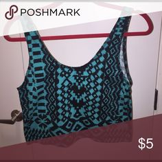 TWO Rue 21 Crop Tanks turquoise & black patterned cropped tank, bright aztec patterned tank, blue one was never worn, bright one worn once Rue 21 Tops Crop Tops