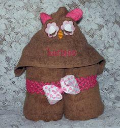 Hooded Bath Towel Appliqued Owl/Wash Cloth Ears. by TheStitchNRoom, $25.00