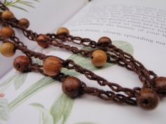 Crochet Bead Lanyard in Chocolate with Wooden Beads by Spasojevich, $8.00