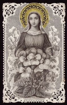 Our Lady and pansies Holy Card Heaven Blessed Mother Mary, Divine Mother, Blessed Virgin Mary, Religious Pictures, Religious Icons, Religious Art, Vintage Holy Cards, Art Populaire, Jesus Christus