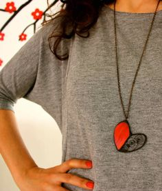 Blood red heart statement necklace particular design by CurlyWay