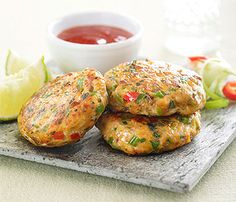 Delicious Thai fish cakes with sweet chilli sauce