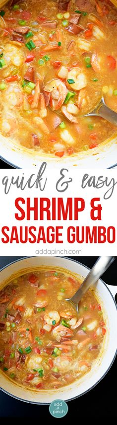 This Shrimp and Sausage Gumbo is a delicious, quick and easy gumbo recipe! Ready in less than 30 minutes, this gumbo is great for weeknights and weekends! Shrimp And Sausage Gumbo, Shrimp Gumbo, Seafood Gumbo, Seafood Dinner, Chicken Sausage, Chicken Gumbo, Shrimp Jambalaya Recipe Easy, Seafood Risotto, Cajun Recipes