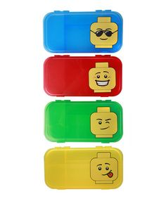 On Zulily this week - LEGO City Mini Figure Case - Set of Six on #zulily! #zulilyfinds - Includes two blue cases, two red cases, one green case and one yellow case