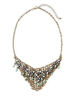 Sabine Gold and Mint Mesh Chain Statement Necklace | Piperlime