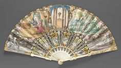 1750s, England or the Netherlands - Fan - Skin leaf painted in gouache with touches of gilt; pierced, painted and gilded ivory sticks; pierced, carved and painted guard; mother-of-pearl - Obverse: five vignettes: architectural setting, center; flanked by man and two women having tea, left; and man, woman, cupid, and dog in pastoral setting, right; reclining women in pastoral settings to outsides; gilt floral borders