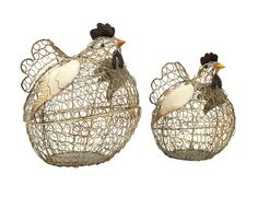 "Elmore Wire Chickens - Set of 2 9.75-13""""h x 6.5-8""""w x 8-9"""""