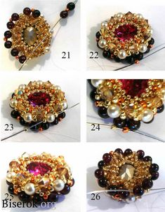 Beaded Rings, Beaded Bracelets, Wire Jewelry Making, Barrettes, Earring Tutorial, Beading Tutorials, Bead Art, Jewelery, Beads