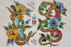 Purple Leopard Boutique - Snake Flash by Josh Persons Traditional Style Tattoo Fine Art Print , $24.00 (http://www.purpleleopardboutique.com/snake-flash-by-josh-persons-traditional-style-tattoo-fine-art-print/)