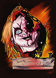 """ibtravart: """"Day 3 sketch in our """"31 Days of Halloween"""" sketch series 4 is dedicated to my fave horror icon Chucky from the new """"Cult of Chucky"""" film! It's an insane, bloody fun ride and a gift for us..."""