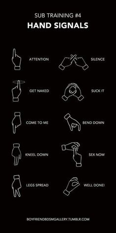 In Master/slave or Dominant/submissive communication, hand signals can be used outside as secret signals, or in the bedroom for nonverbal communication Kinky Quotes, Sex Quotes, Ddlg Quotes, Submissive Wife, Dom And Subs, Hand Signals, Dominatrix, Adult Humor, Daddy