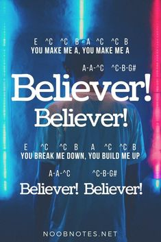 """Released early 2017, """"Believer"""" has been popular around the world and has been used by Nintendo for their Switch adverts. It has simple repetitive melodies, but has quite a note range so requires some skill to play – good luck! A ^E ^D First things first ^D-^C ^D … #musicnotes #sheetmusic #noobnotes"""