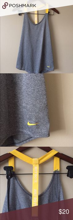NWOT NIKE just do it tank New without tags just do it logo in yellow on straps gray athletic tank size large Nike Tops Tank Tops