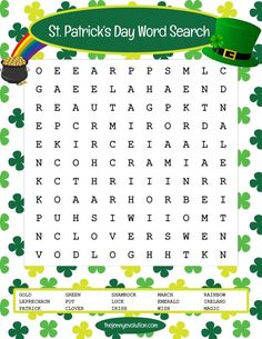 St Patrick's Day Word Search Puzzle