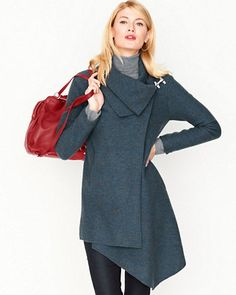 Asymmetrical Boiled Wool Coat black or dark teal
