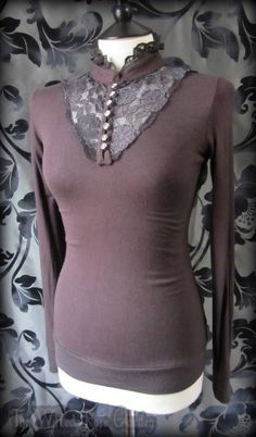 Romantic Victorian Brown Knit Dark Grey Ruffle Lace High Neck Blouse 8 10 Goth | THE WILTED ROSE GARDEN on eBay // Worldwide Shipping Available
