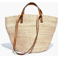 Bamboula Ltd. & Madewell Tote Bag (105 AUD) ❤ liked on Polyvore featuring bags, handbags, tote bags, purses, woven beach tote, leather tote bags, leather tote handbags, leather handbag tote and beach tote bags
