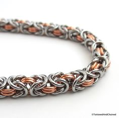 Chainmaille Byzantine bracelet, copper and steel jewelry - Tattooed and Chained Chainmaille  - 5
