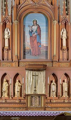 Saint Agatha Roman Catholic Church, in Saint Louis, Missouri, USA - altar and reredoes detail, via Flickr.