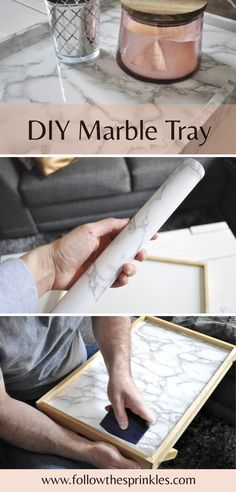DIY faux Marble Tray. DIY project for an organized desk, coffee table, kitchen or office. Marble it yourself. Easy and very useful DIY tray. fake marble.