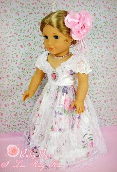 """Amazon.com: ** RUBY ROSE ** Satin & Lace Floral Design Ballroom Gown with Pink Rhinestone Necklace & Flower Hairpin~ Fits 18"""" American Girl Dolls: Toys & Games"""