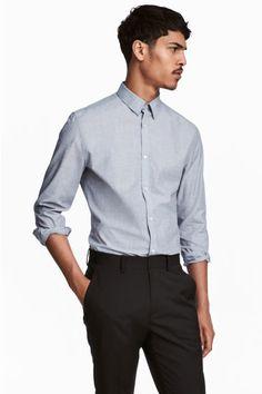 이지 케어 슬림핏 셔츠 - 그레이/샴브레이 - Men | H&M KR 1 19,000원
