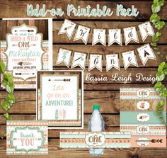 Tribal Wild One Girl Coral and teal Birthday Party Printable Kit - Instant Digital Download