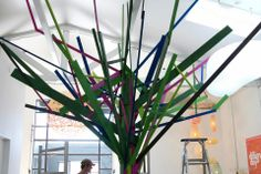Indoor tree, built and designed for Urbis Design Day 2013, collaboration between Backhouse Ltd and Gather and Hunt NZ   (indoor-tree,design, wooden-tree, d.i.y, colourful, painted, resene) Wooden Tree, Tree Designs, Event Decor, Collaboration, Indoor, Crafty, Decoration, Plants, Diy