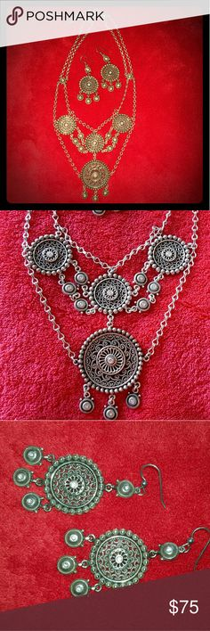 "Authentic Brighton 2pc Set Authentic Brighton 2pc Set necklace and earrings. Spanish coin inspired pair with crystal set medallions. Necklace is 18"" long with 2"" extender. Earrings are French hook and dangle about an inch 1/2 long. Not heavy at all. Worn once. Brighton Jewelry"
