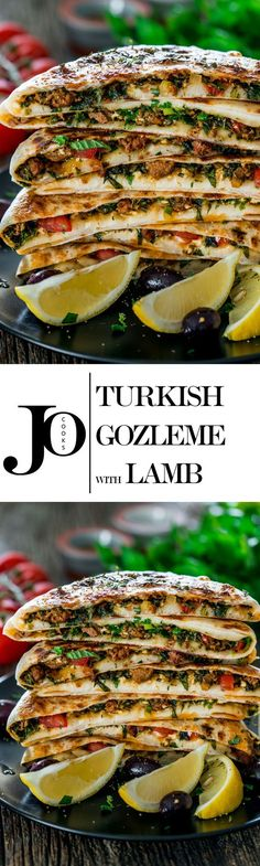 Turkish Gozleme with Lamb - savoury homemade flatbreads from scratch filled with ground lamb, spices, herbs and feta cheese. Crazy good!: