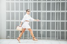 SUMMER SKIRT - Lovely Pepa by Alexandra. White shirt+white skirt with colourfull stripes+brown lace up flat sandals+brown belt+nude handbag. Summer outfit 2016